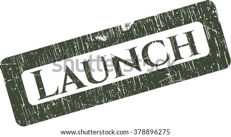 Launch rubber stamp with grunge texture