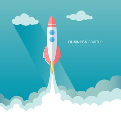 Launching a rocket into space. illustration of business startup template.  Flat design modern vector illustration concept of project start up development and launch new innovation product on a market.