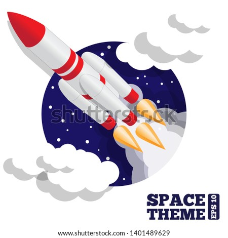 Launching a spacecraft. Vector illustration. Isometric.