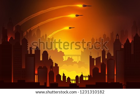 Launching nuclear missiles illustration, burning city panorama landscape, World War 3 vector background.