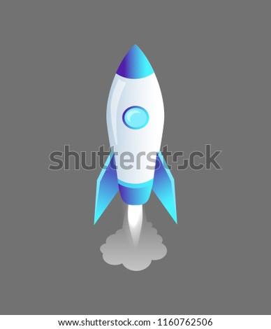launching rocket craft isolated