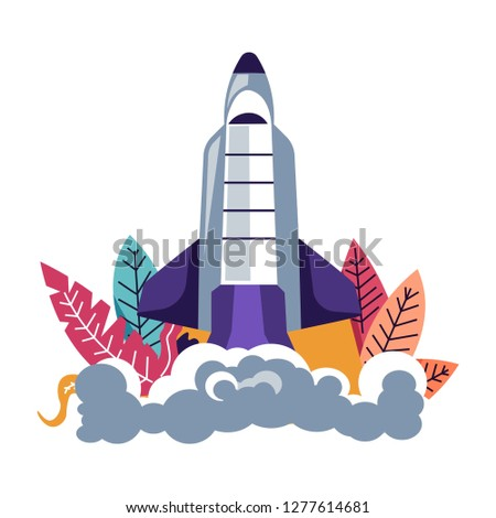 Launching rocket spacecraft leaving clubs of smoke behind vector. Foliage and floral decoration cylindrical construction made of steel designed to explore universe and outer space isolated craft
