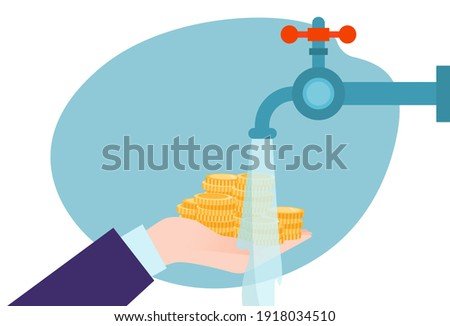 laundering dirty money, concept crime, wealth cash, illegal money circulation, design cartoon style vector illustration. Criminal financial transactions, business fraud, bank savings, bankruptcy bill. Foto stock ©