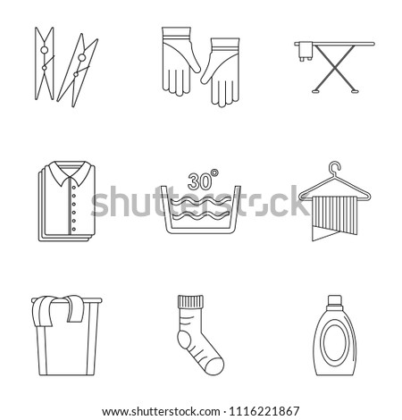 laundromat icons set outline