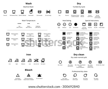 Laundry and Dry Cleaning symbols icon set. Vector collections