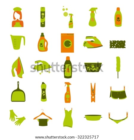 laundry and washing color icons