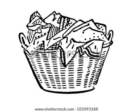 Laundry Basket - Retro Clipart Illustration