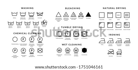 Laundry care icons. Machine and hand wash advice symbols, fabric cotton cloth type for garment labels. Vector illustrations symbolism wash description Stockfoto ©