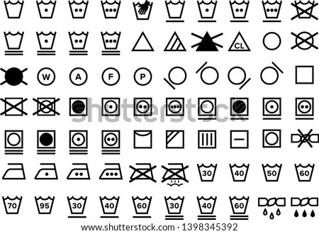 Laundry Care Symbol Icons Set Transparent Black and White Textile Instruction Label Clip Art