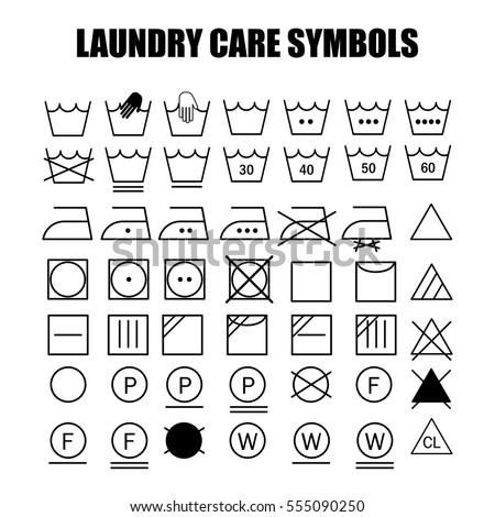 laundry care symbols set wash