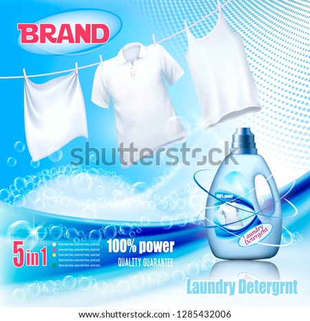 Laundry detergent ad. Washing White clothes hanging on rope and plastic bottle. Design template. Vector #1285432006