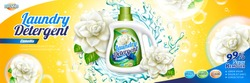Laundry detergent ads, camellia scent detergent liquid with floral elements and splashing water in 3d illustration, yellow background