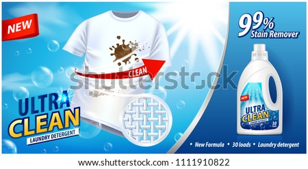 Laundry detergent, stain remover ad template. Ads poster design on blue background with white t-shirt. Vector illustration for your design