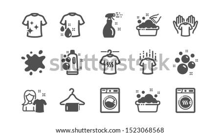 Laundry icons. Dryer, Washing machine and dirt shirt. Laundromat, hand washing, laundry service icons. Classic set. Quality set. Vector