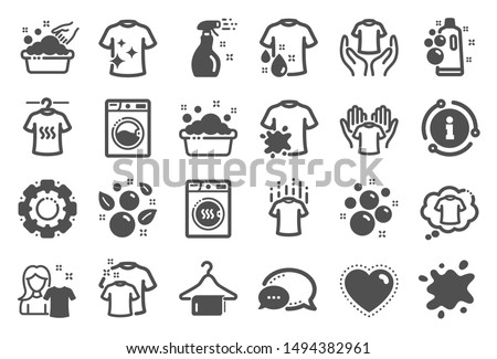 Laundry icons. Dryer, Washing machine and dirt shirt. Laundromat, hand washing, soap bubbles in basin icons. Dry t-shirt, laundry service, dirty smudge spot. Clean clothes. Quality set. Vector