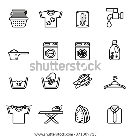 Laundry icons. Housework icons. Line Style stock vector.