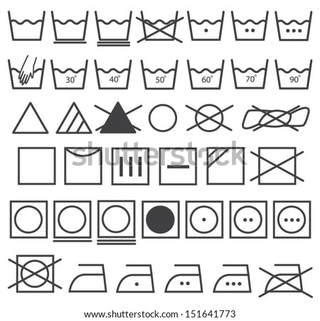 Laundry Icons Vector Set Washing Symbol