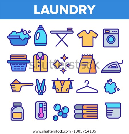 Laundry Line Icon Set Vector. Washing Machine. Clean Dry Cotton. Cloth Laundry Pictogram. Thin Outline Illustration