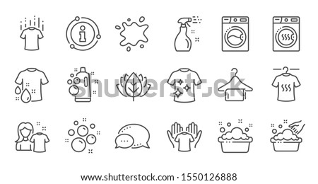 Laundry line icons. Dryer, Washing machine and dirt shirt. Laundromat, hand washing, laundry service icons. Linear set. Quality line set. Vector
