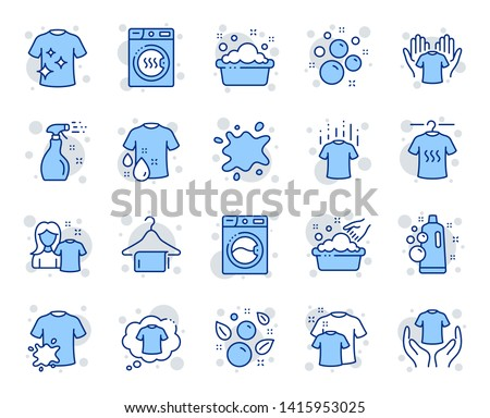 Laundry line icons. Dryer, Washing machine and dirt shirt. Laundromat, hand washing, soap bubbles in basin icons. Dry t-shirt, laundry service, dirty smudge spot. Clean clothes. Vector