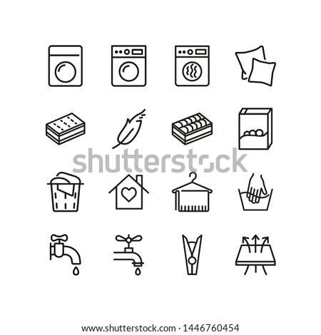 Laundry line icons. Set of line icons. Breathing fabric, hand washing, two pillows. Laundry concept. Vector illustration can be used for topics like washing up, laundry