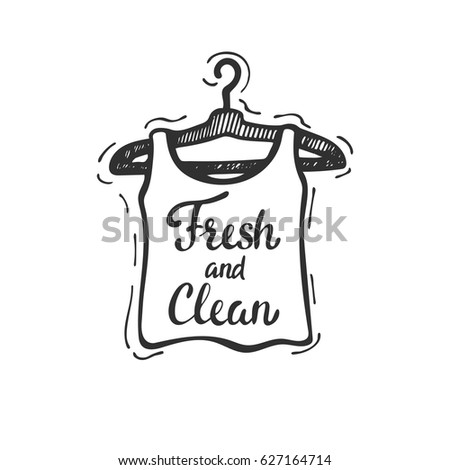 Laundry logo tamplate. Clean sleeveless T-shirt drying on a clothesline. Hand drawn vector illustration, design, greeting card, logo.