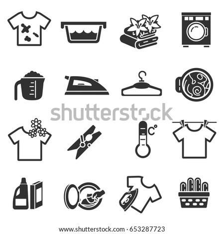 laundry  monochrome icons set