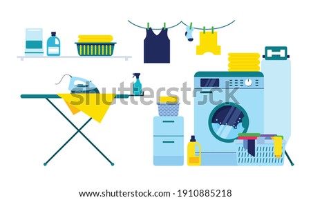 Laundry room equipment. Laundry room, washing machine, basket, iron, ironing board, drying clothes, cleaning supplies vector illustration Photo stock ©
