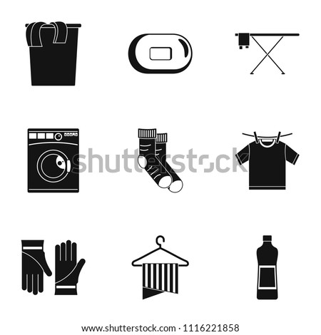 laundry room icons set simple