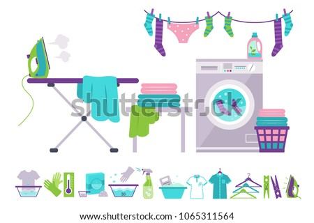 Laundry room, washing machine, basket, iron, ironing board, clothes drying, cleaning supplies vector Illustrations on a white background