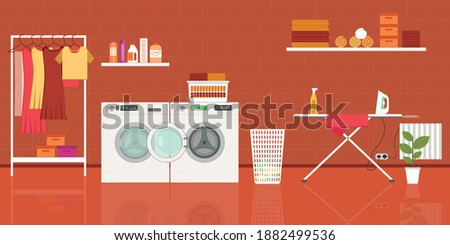 Laundry room with washing machine, ironing board, clothes rack and basket. vector illustration in flat style Photo stock ©