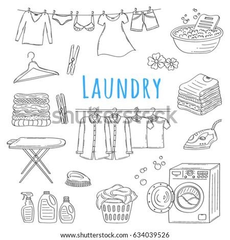 laundry service hand drawn