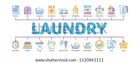 Laundry Service Minimal Infographic Web Banner Vector. Laundry Service, Washing Clothes Linear Pictograms. Laundromat, Dry-Cleaning, Launderette, Stain Removal, Ironing Contour Illustrations