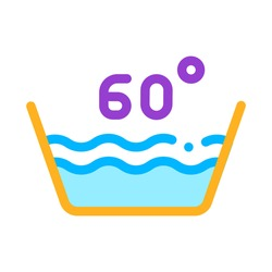 Laundry Sixty Degrees Celsius Vector Line Icon. Water Degrees Centigrade Washing Clothes Dress Service Linear Pictogram. Laundromat, Dry-Cleaning, Launderette, Stain Removal Illustration