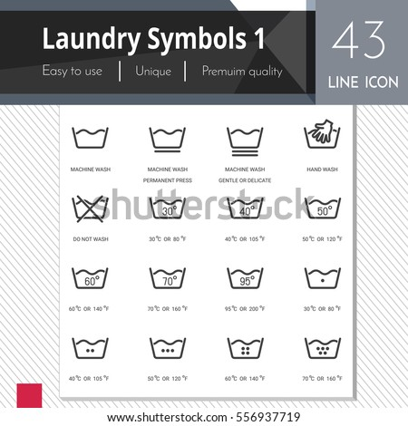 Laundry symbols 1 elements vector icons set on white background.  Premium 