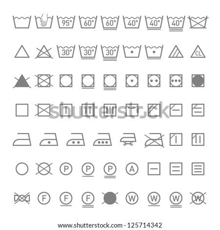 Laundry symbols. Vector.