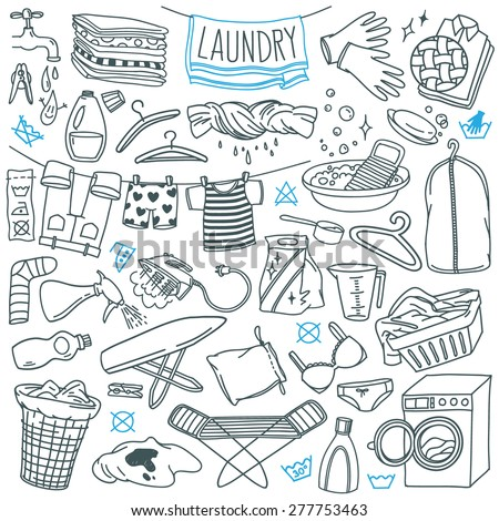 laundry themed doodle set