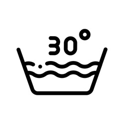 Laundry Thirty Degrees Celsius Vector Line Icon. Wash Water Degrees Centigrade Washing Things Service Linear Pictogram. Laundromat, Dry-Cleaning, Launderette, Stain Removal Contour Illustration