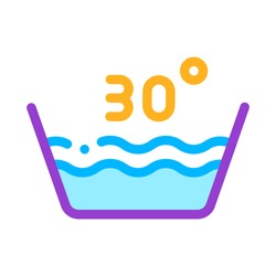 Laundry Thirty Degrees Celsius Vector Line Icon. Wash Water Degrees Centigrade Washing Things Service Linear Pictogram. Laundromat, Dry-Cleaning, Launderette, Stain Removal Illustration