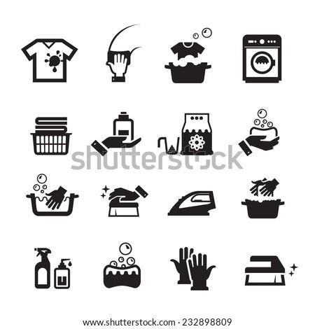 laundry washing icons set