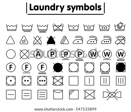 Laundry washing symbols set. Minimal line icon. Black and white.