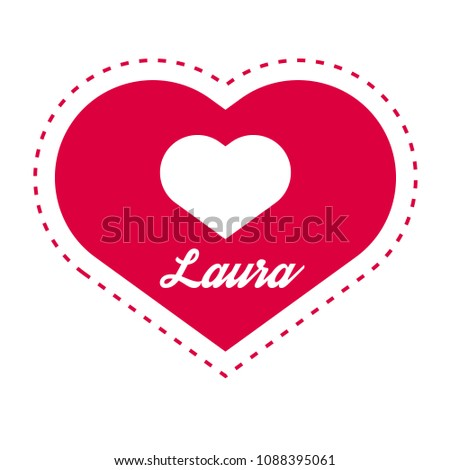 laura woman name with heart