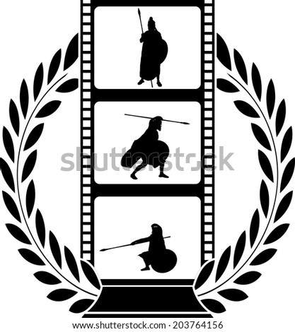 laurel wreath and film with