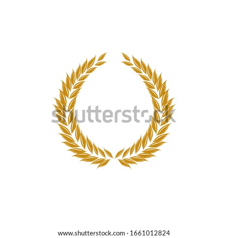 Laurel wreath gold reward. Modern symbol of victory and award achievement champion. Leaf ceremony awarding of winner tournament. Colorful template for badge, tag. Design element. Vector illustration.