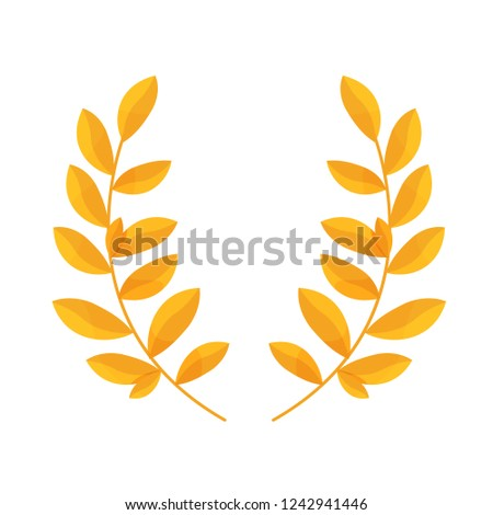 Laurel wreath of leaves, solemn decorative award, a symbol of glory, victory, peace. Golden decoration, trophy for merits, victories, successes, high achievements. Vector illustration.