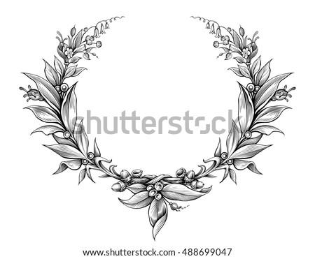 Laurel Wreath Vintage Baroque Frame Border Monogram Floral Heraldic Shield Ornament Leaf Scroll Engraved Retro Flower