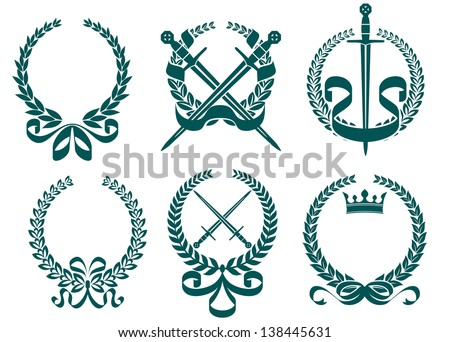 Laurel wreathes with heraldry elements in retro style. Jpeg (bitmap) version also available in gallery - stock vector