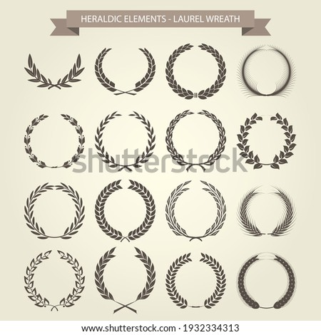 Laurel wreaths set in different style, heraldic wreath for blazons and emblems, vector