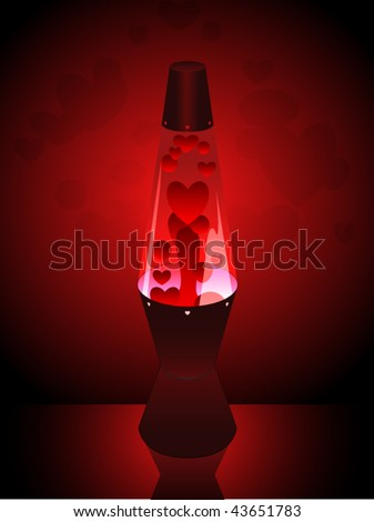Lava Lamp With Red Heart Shaped Wax Blobs Stock Vector