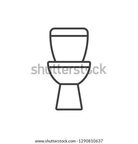 Lavatory pan, toilet bowl, restroom line icon.